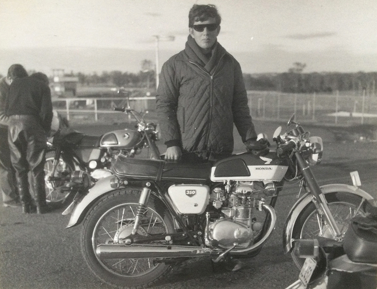 Geoff Sim with his 350cc Honda